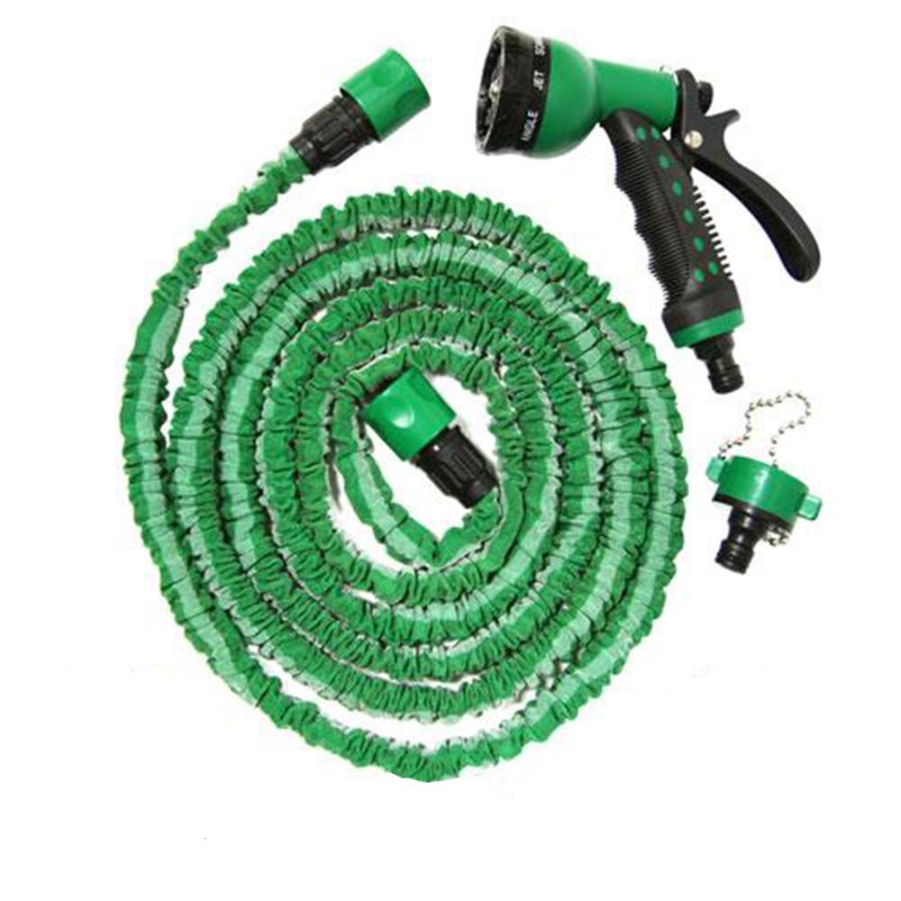 金德恩 台灣製造 伸縮水管3米延伸至7.5米 附八段式可調式水槍+鍊條式水龍接頭 隨機色