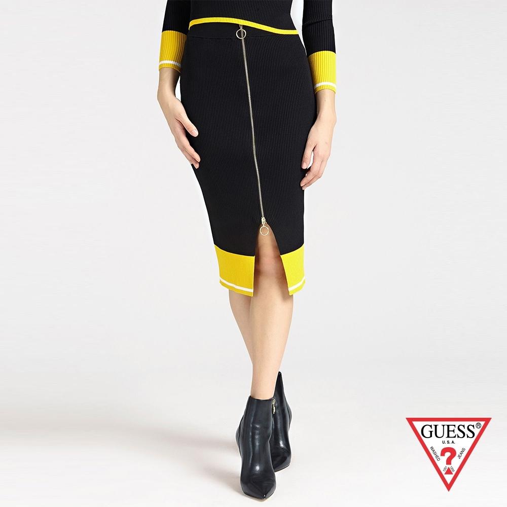 GUESS-女裝-配色拉鍊針織窄裙-黑 原價2290