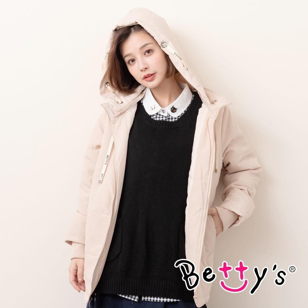betty's貝蒂思 休閒百搭長板鋪棉外套(淺卡其)