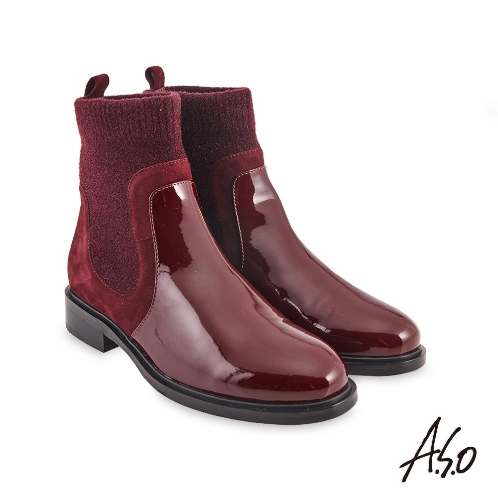 A.S.O  時尚流行彈性布異材質拼接真皮短靴-正紅