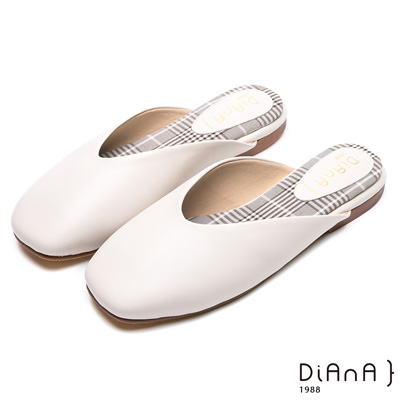 DIANA 魅力簡約-真皮方頭平底穆勒拖鞋-骨白