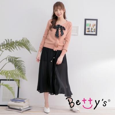 betty's貝蒂思 修身雪紡珠飾寬褲裙(黑色)