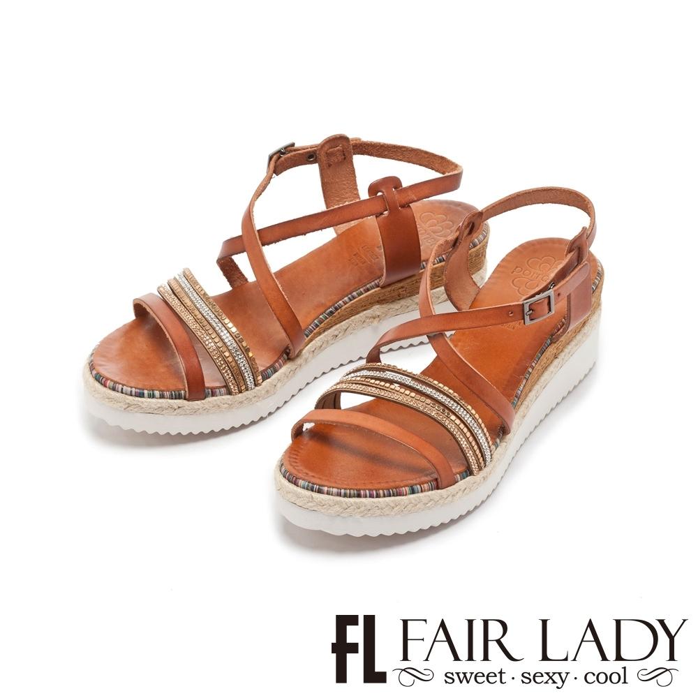 FAIR LADY PORRONET 鑽飾交叉繞帶厚底楔型涼鞋 咖
