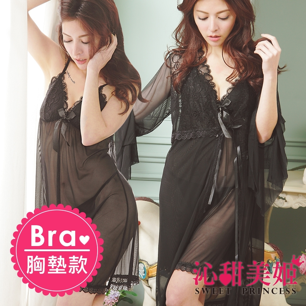 罩衫三件式睡衣裙組 胸墊款 奢華網紗 絕美印花深V水鑽 沁甜美姬(黑)