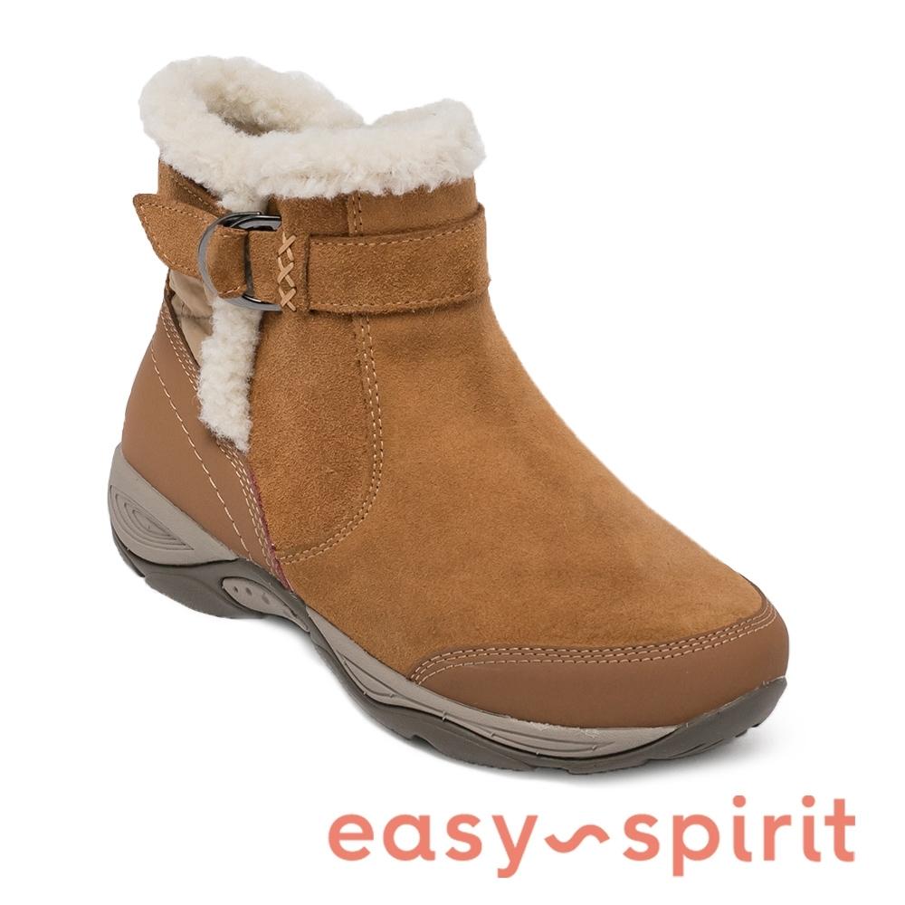 Easy Spirit-seELK 秋冬舒適 牛皮鋪毛平底短靴-卡其色