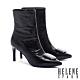短靴 HELENE SPARK 超現代摩登皺金屬牛皮尖頭高跟短靴-黑 product thumbnail 1