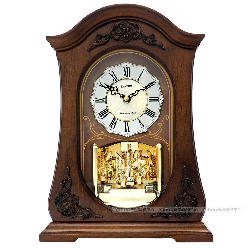 RHYTHM日本麗聲 歐風古典貝殼鑲嵌報時座鐘/35cm