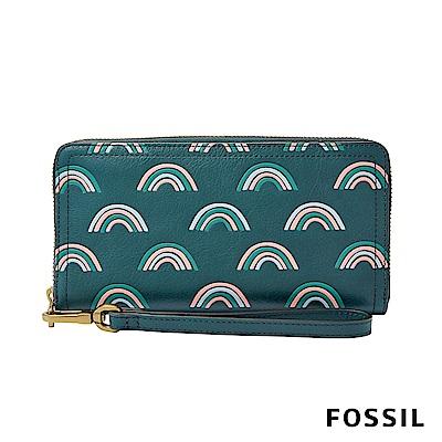 FOSSIL Logan 真皮系列多層拉鍊零錢袋設計長夾-童趣綠底彩虹