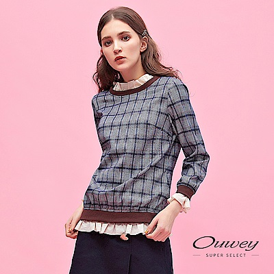OUWEY歐薇 學院風荷葉拼接格紋上衣(藍)