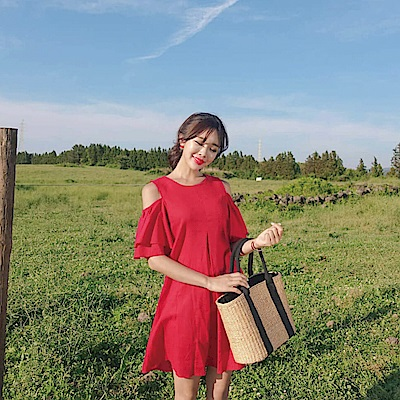 【AIRKOREA正韓空運】亞麻露肩連衣裙