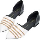 AIR SPACE 個性金屬線條尖頭低跟包鞋(白)