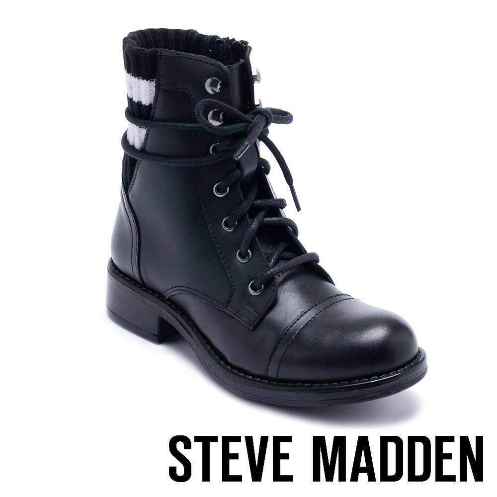 STEVE MADDEN-AZURE 運動風拼接風綁帶短筒靴-黑色