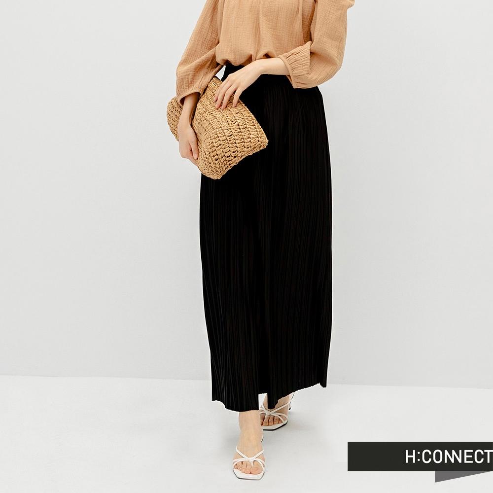 H:CONNECT 韓國品牌 女裝 -純色立體壓褶寬褲