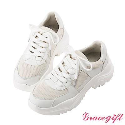 Grace gift-牛皮拼接厚底休閒鞋 白