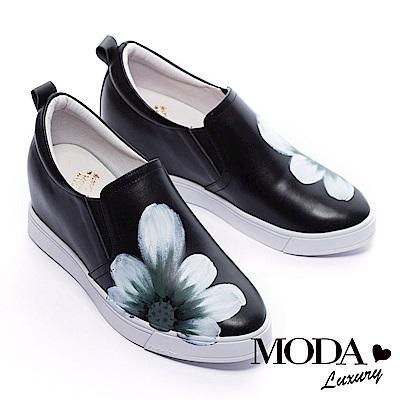 休閒鞋 MODA Luxury 彩色手繪花朵全真皮內增高休閒鞋-黑