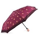 COACH 滿版貓咪款全自動開闔晴雨傘-紫紅色