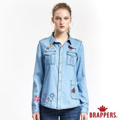 BRAPPERS 女款 Boy Friend 系列-女用繽紛花園童趣刺繡襯衫-淺藍