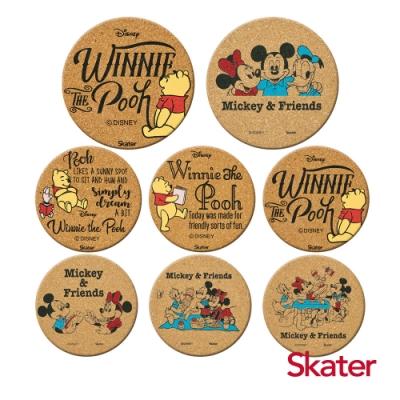 Skater杯墊2組-小熊維尼+米奇