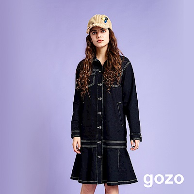 gozo 派率性壓線開扣洋裝外套(二色)