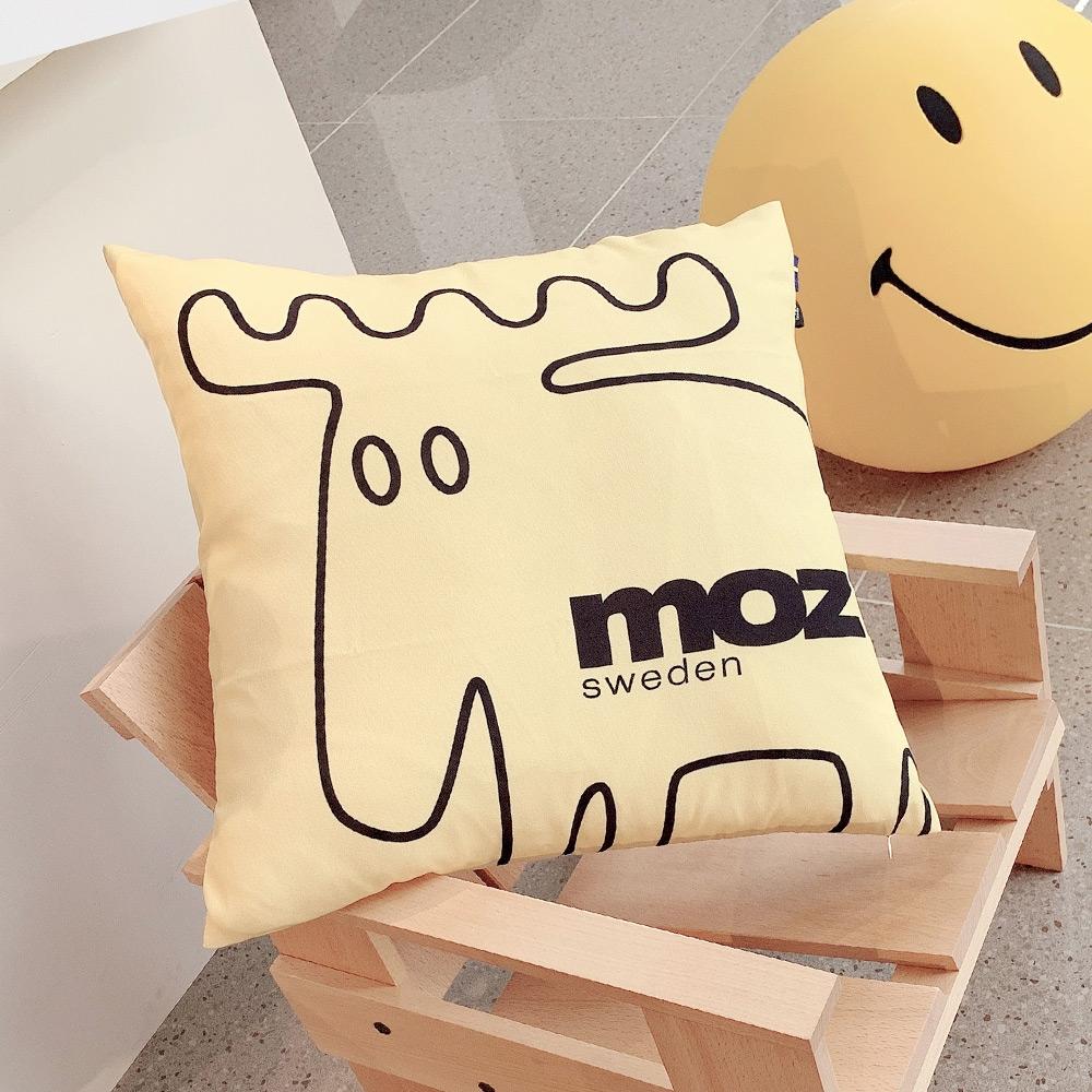 moz瑞典 北歐風雙面抱枕套(原創線條-陽光黃)45cm