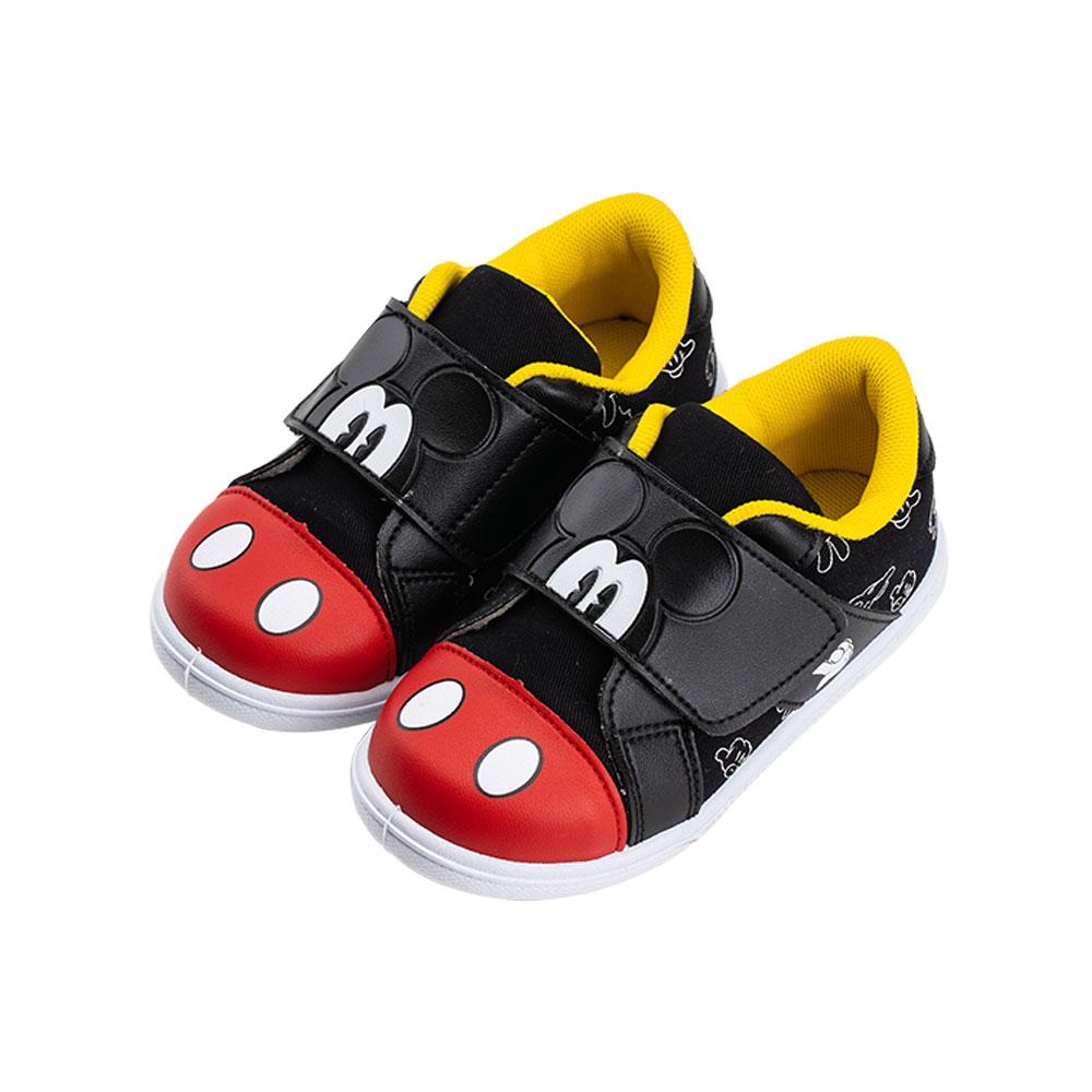 迪士尼童鞋 米奇 經典復古款魔鬼氈休閒鞋-黑