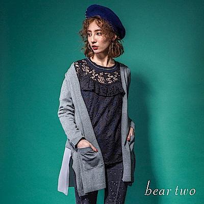 beartwo 基本款混合織法異材質拼接罩衫外套(2色)