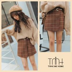 韓版格子毛呢短裙-2色-TMH