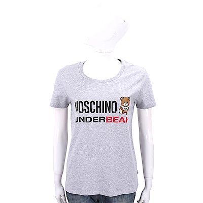 MOSCHINO Underbear 字母泰迪熊寶寶灰色棉質T恤