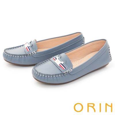 ORIN 甜美童趣縫線真皮 女 平底鞋 藍色