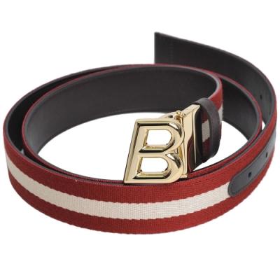 BALLY OBLIQUE 經典織紋雙面用皮帶(紅白織帶/深咖啡/105CM)