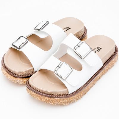 River&Moon拖鞋-簡約皮質二條厚底涼拖鞋-白