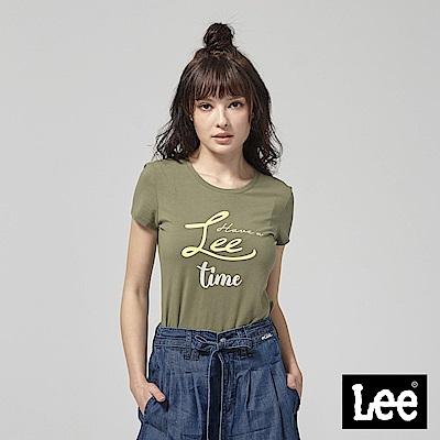 Lee HAVE A LEE TIME 短袖圓領T恤-墨綠