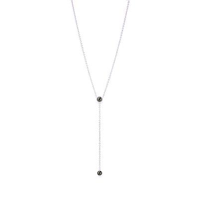 LOVERS TEMPO加拿大品牌 DUET LARIAT垂墜造型鑲嵌黑水晶 銀色項鍊