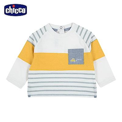 chicco-童趣車系列-條紋連肩長袖上衣-白(12-24個月)