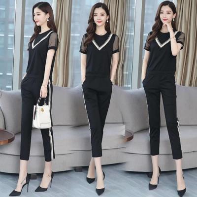 都會時尚黑白拚色網紗透膚短袖衣褲套裝M-3XL-REKO