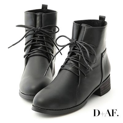 D+AF 街頭個性.綁帶設計低跟軍風短靴*黑