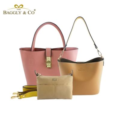 【BAGGLY&CO】香榭夢幻托特水桶包超值三件組(三色)