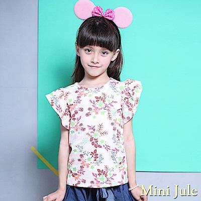 Mini Jule 上衣 滿版花朵樹葉荷葉短袖上衣(粉)