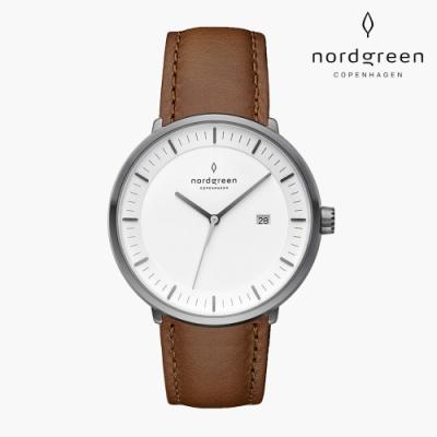 Nordgreen Philosopher 哲學家 深空灰系列 復古棕真皮錶帶手錶 36mm