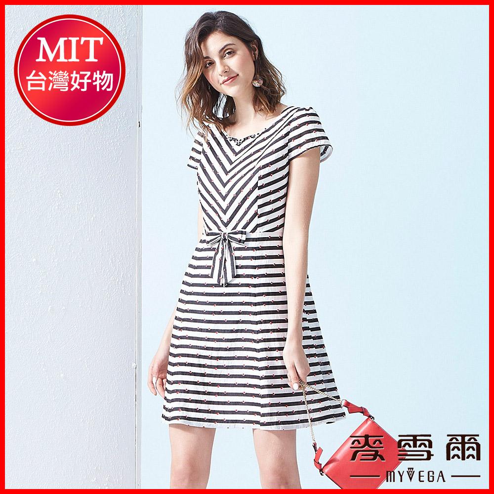 【麥雪爾】條紋小圓點腰間蝴蝶結洋裝