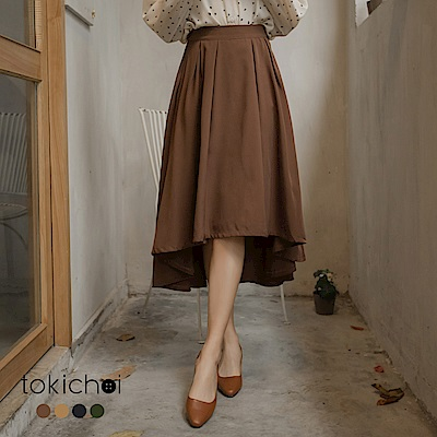 東京著衣 多色氣質前短後長傘擺長裙-S.M.L(共四色)