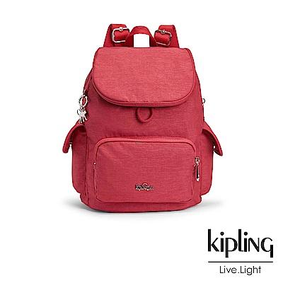 Kipling 後背包 紋路質感蘋果紅-中