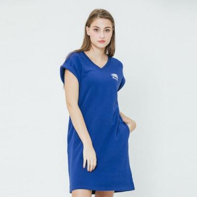 女裝Roots BREATHE毛圈布無袖洋裝-藍