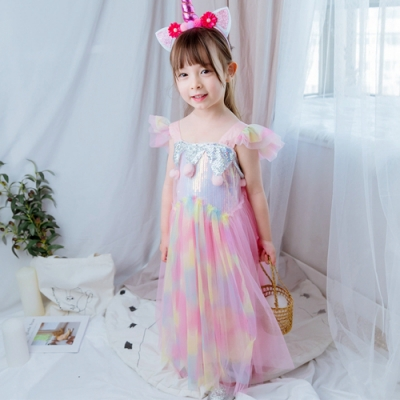 Kori Deer 可莉鹿 獨角獸飛袖雪紡亮片女童漸層蓬蓬裙洋裝 萬聖節生日派對必備造型