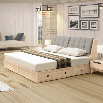 Boden-芬特6尺雙人加大床組(床頭箱+三抽收納床底)(不含床墊)