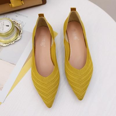 KEITH-WILL時尚鞋館 美型淑女針織尖頭鞋-黃
