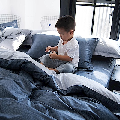 OLIVIA 諾亞 藍灰 特大雙人床包被套四件組 200織精梳純棉 台灣製