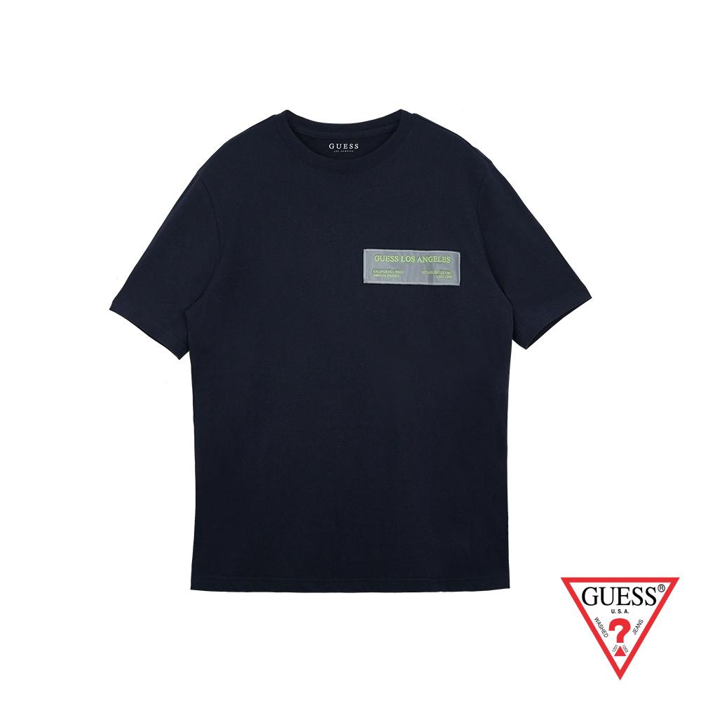 GUESS-女裝-素色交感布條文字短T,T恤-深藍