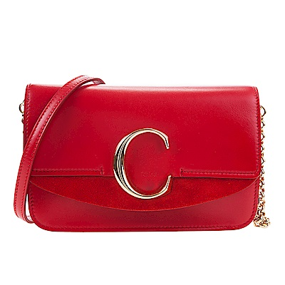CHLOE 新款CHLOE C Bag 金釦小牛皮手拿/鍊帶包 (紅色)