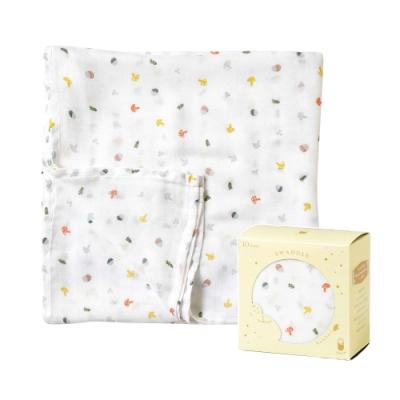 Hoppetta 竹纖維紗布包巾(童趣蘑菇)